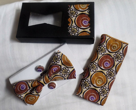 Bronze Bow Tie, Cuff Links & Pocket Square Set - Ankara Boutique