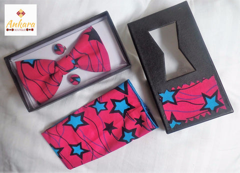 Fuschia Bow Tie, Cuff Links & Pocket Square Set - Ankara Boutique