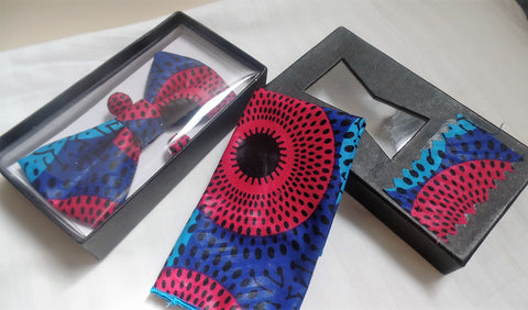 Red & Blue Bow Tie, Cuff Links & Pocket Square Set - Ankara Boutique