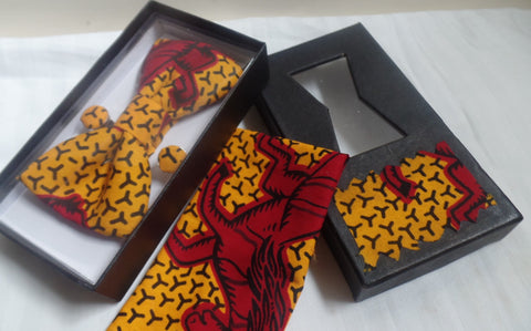 Red Horse Bow Tie, Cuff Links & Pocket Square Set - Ankara Boutique