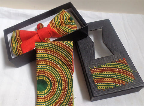 Green & Orange Bow Tie, Cuff Links & Pocket Square Set - Ankara Boutique