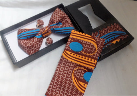 Brown Bow Tie, Cuff Links & Pocket Square Set - Ankara Boutique