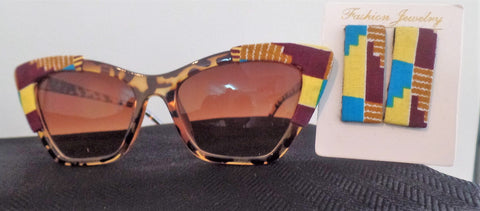 Ankara/African Fabric Tortoise Shell Sunglasses and Earrings Set - Ankara Boutique