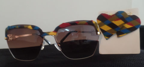 Ankara/African Fabric Sunglasses and Heart-Shaped Earrings Set - Ankara Boutique
