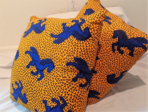 Blue Horse Throw Pillow Covers - Ankara Boutique