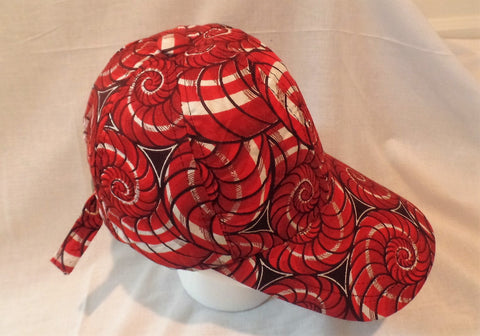 Red Swirls Ankara Baseball Cap - Ankara Boutique