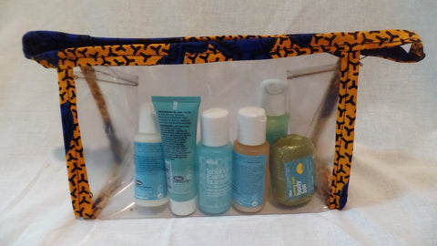 Ankara Trimmed Clear Plastic Make Up Bag - Ankara Boutique