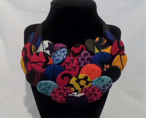 Statement Piece - African Button Necklace - Ankara Boutique