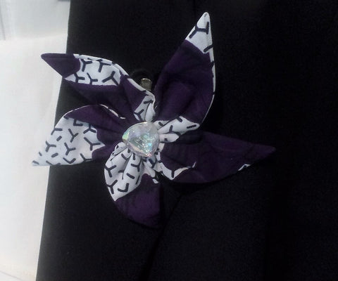 A Touch of Ankara Three Way Pin - Dark Purple/White - Ankara Boutique