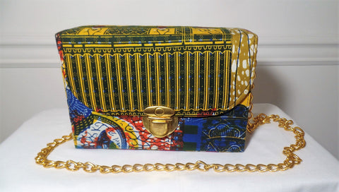 Multi Colored African Print Box Bag - Ankara Boutique