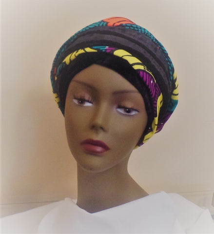 Velvet and Ankara African Turban - Ankara Boutique