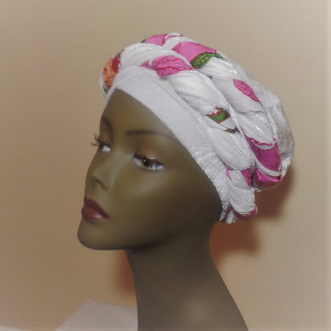 Pink Flower Velvet and Ankara Turban - Ankara Boutique