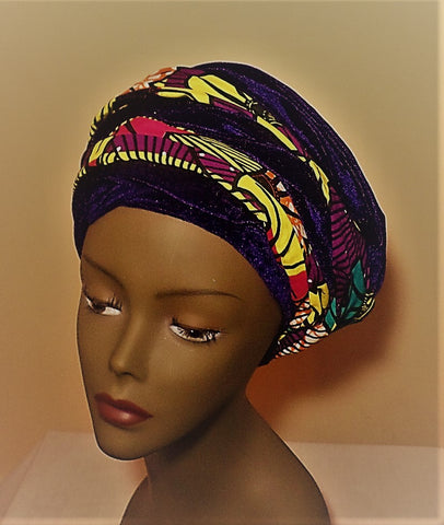 Purple Velvet and Ankara Turban - Ankara Boutique
