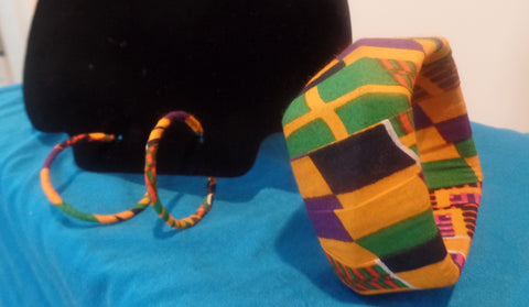 Kente Hoops and Bangle Set - Ankara Boutique