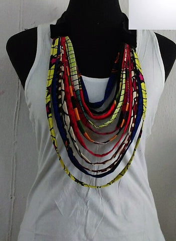Multi Strand Statement Necklace - Ankara Boutique