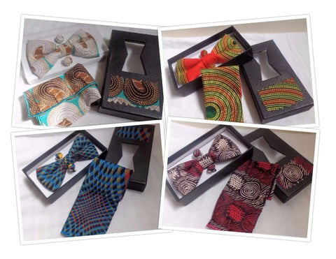 Bow Tie, Cuff Links & Pocket Square Set - Ankara Boutique