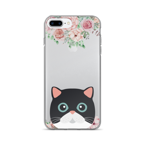 Black Cat Floral iPhone Case - Phone Case | Printavibe.com