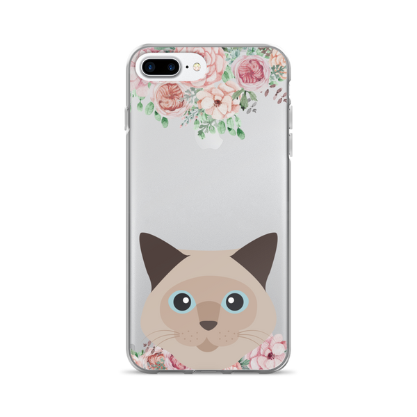 Brown Cat Floral iPhone Case