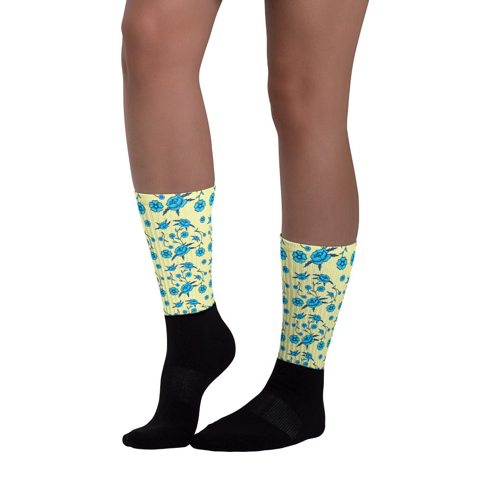 Blue Toile Flower Pattern Socks
