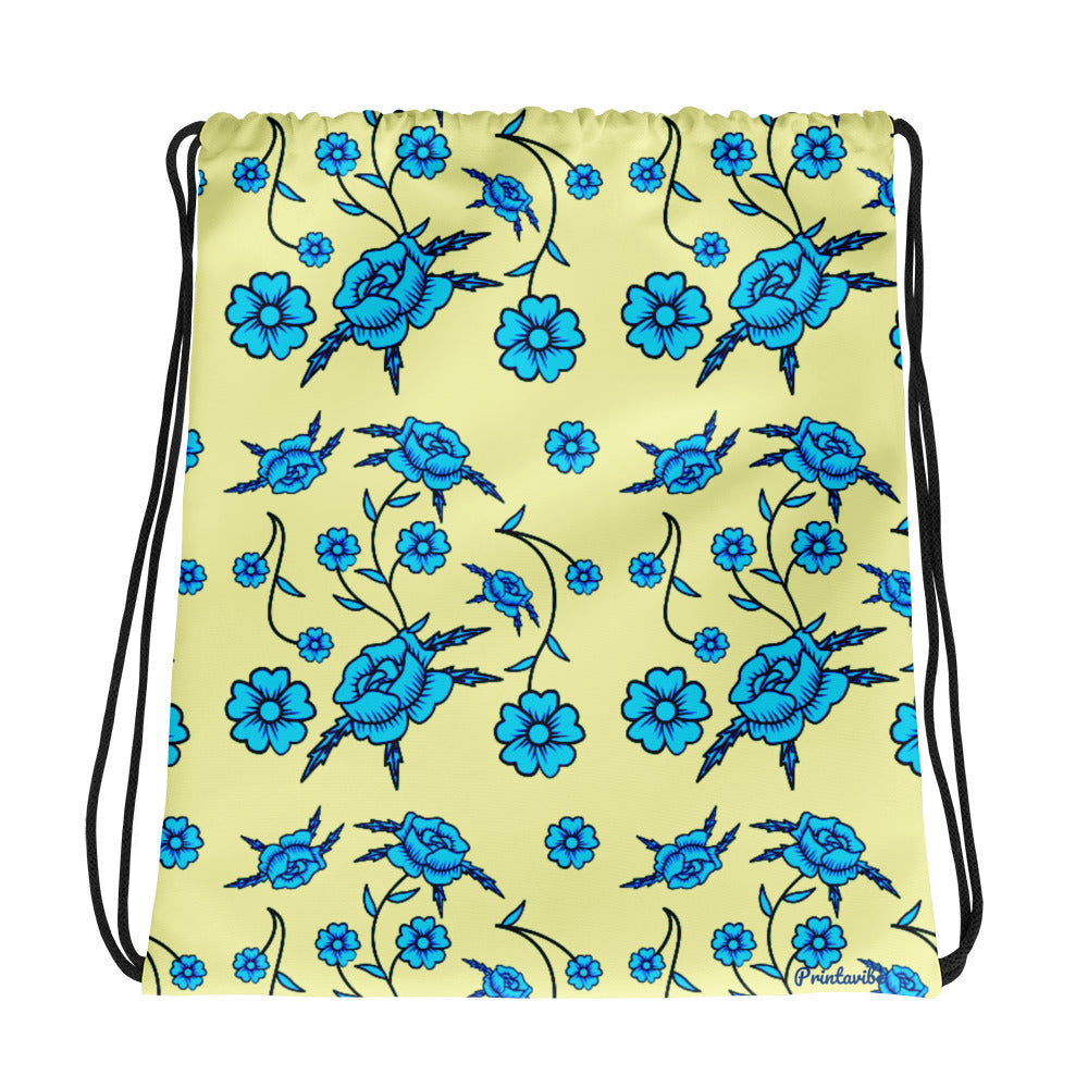 Blue Toile Pattern Drawstring bag