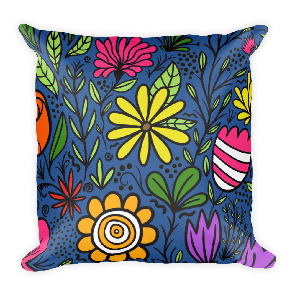 "Groovy Flowers Square Pillow 18""x18"""