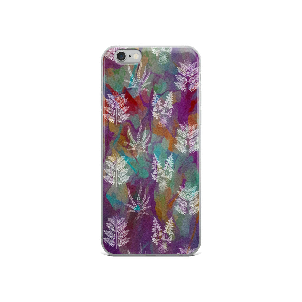 Purple Watercolor Fern Pattern iPhone Case