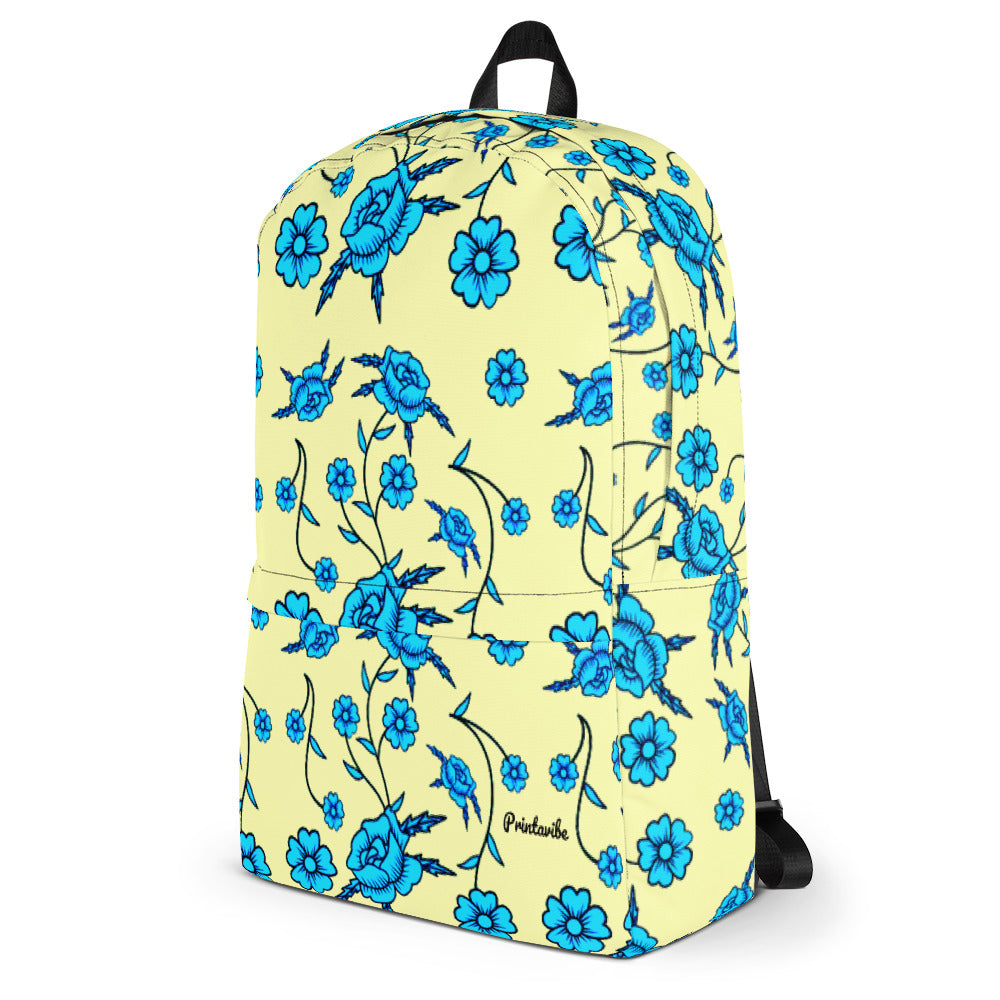 Blue Toile Pattern Laptop Backpack