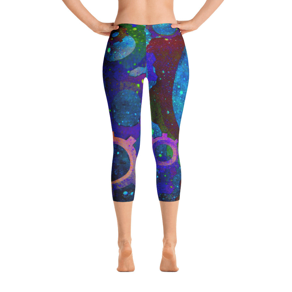 Galaxy Space Print Capri Leggings