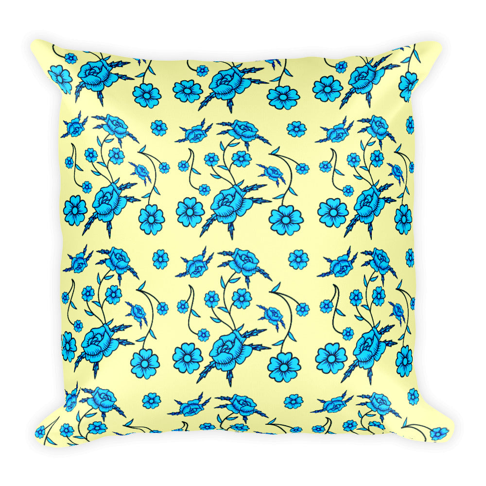 "Blue Toile Pattern Square Pillow 18"" x 18"""