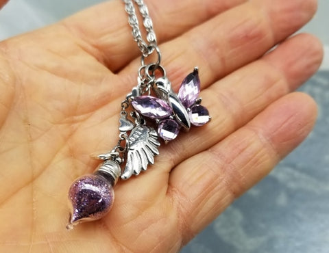 Amethyst Butterfly Cremation Pendant