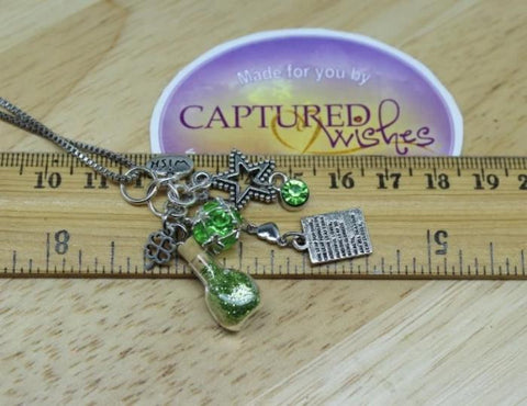 Captured Wishes Good luck necklace shown on ruler for sizing