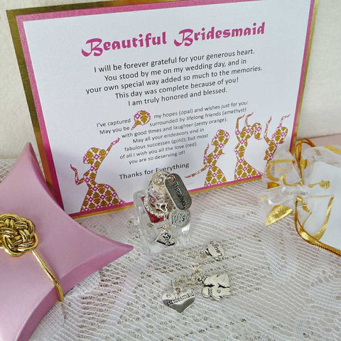 beautiful bridesmaid thank you card text and all elements that are part of the gift