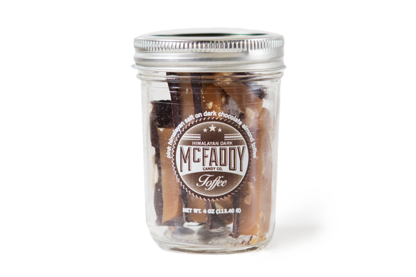 4oz jar of handmade Himalayan Dark premium toffee