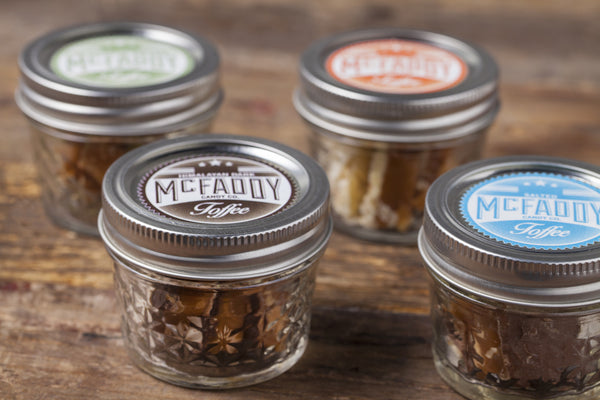 4 premium jars of handmade toffee