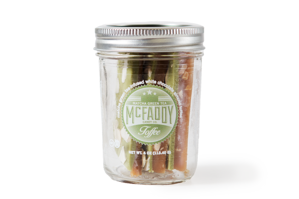 4oz jar of handmade Matcha Green Tea all natural toffee