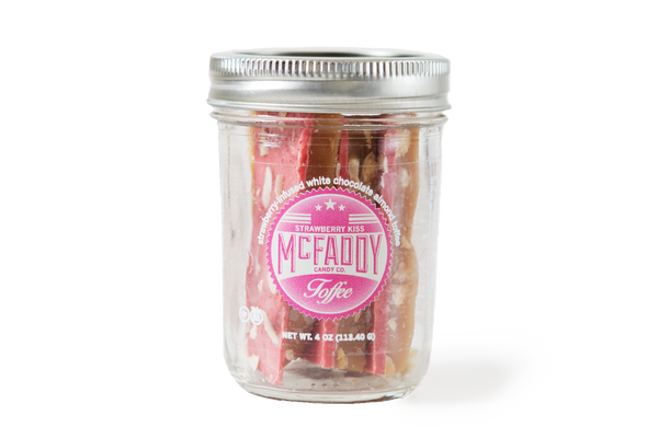 4oz jar of handmade Strawberry Kiss premium toffee