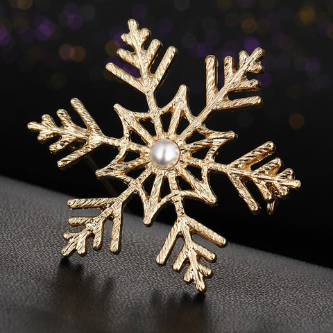 Simulated Pearl Snowflake Brooch Pin - iWaaant.it - Shopping Made Easy & Fun