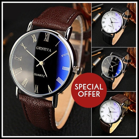 Men's Wrist Watch With Roman Numerals and Faux Leather Band - iWaaant.it - Shopping Made Easy & Fun
