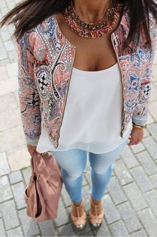Retro Print O-Neck Casual Zipper Autumn Long Sleeve Bomber Jacket - iWaaant.it - Shopping Made Easy & Fun