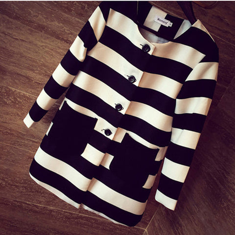 Spring & Autumn Outerwear Striped Printed Jacket Slim Casual Coat - iWaaant.it - Shopping Made Easy & Fun
