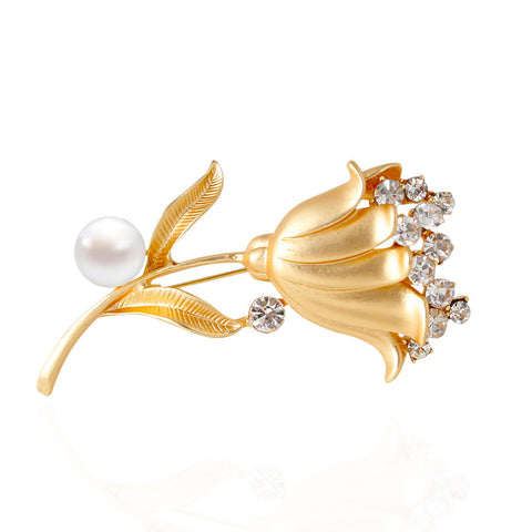 Elegant Bouquet Gold and Silver Plated Rhinestone Flower Shaped with Pearl Brooch Pins - iWaaant.it - Shopping Made Easy & Fun