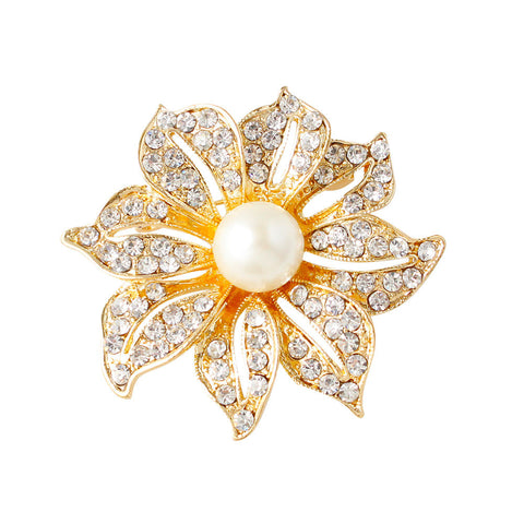 Flower with Stimulated Pearl Gold Plated Brooch Pin - iWaaant.it - Shopping Made Easy & Fun