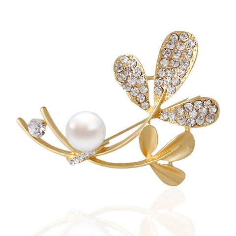 Elegant Rhinestone Flower with Pearl Gold and Silver Plated Brooch Pins - iWaaant.it - Shopping Made Easy & Fun