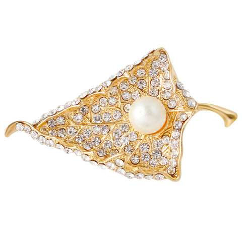 Gold Plated Rhinestone Leaf with Pearl Brooch Pins - iWaaant.it - Shopping Made Easy & Fun