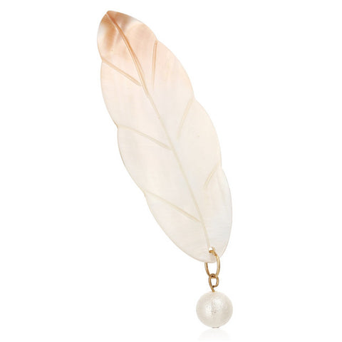 Charm Costume Feather Pearl Brooch Pin - iWaaant.it - Shopping Made Easy & Fun