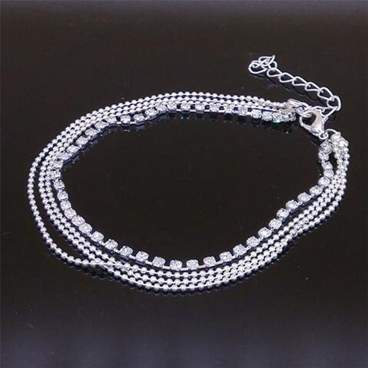 Silver Crystal Ball Bracelet Anklet Ankle Foot Chain