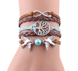 Infinity Tree flying birds charm Leather bracelet