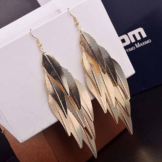 Western Style Willow Leaves Earrings