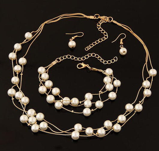 Pearl Jewelry Set Earrings Necklace Bracelet Sets
