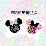 Minnie Mouse Lilly Pulitzer Decal Disney Inspired Monogram